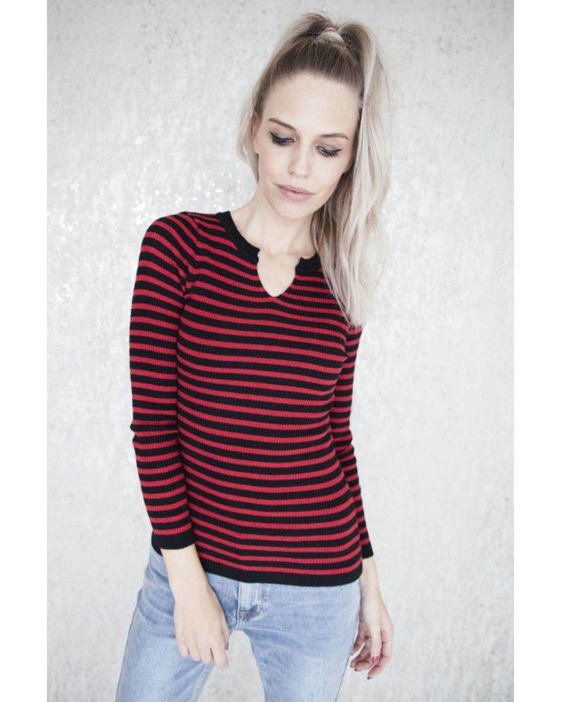 LIZA STRIPES RED - LONGSLEEVE