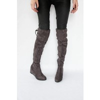 KNEE BOOTS TAUPE - BOOTS