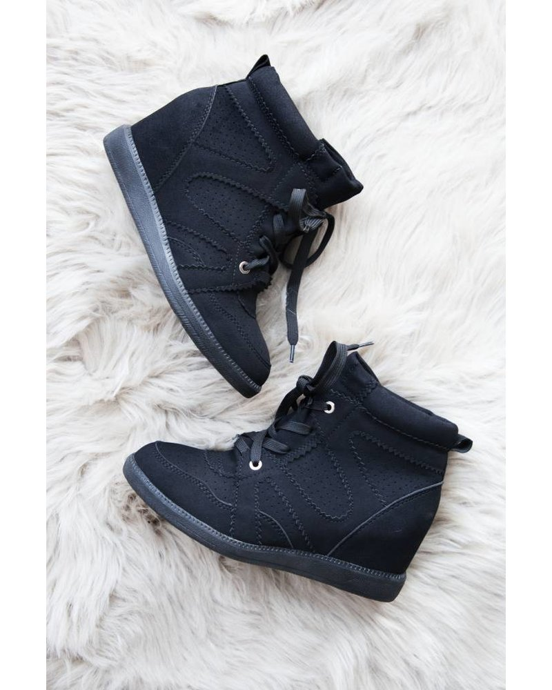 ISABELLE BLACK WEDGE  - SNEAKERS