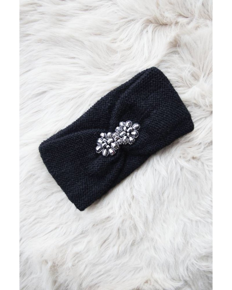 KNITTED WINTER BLACK - HAARBAND