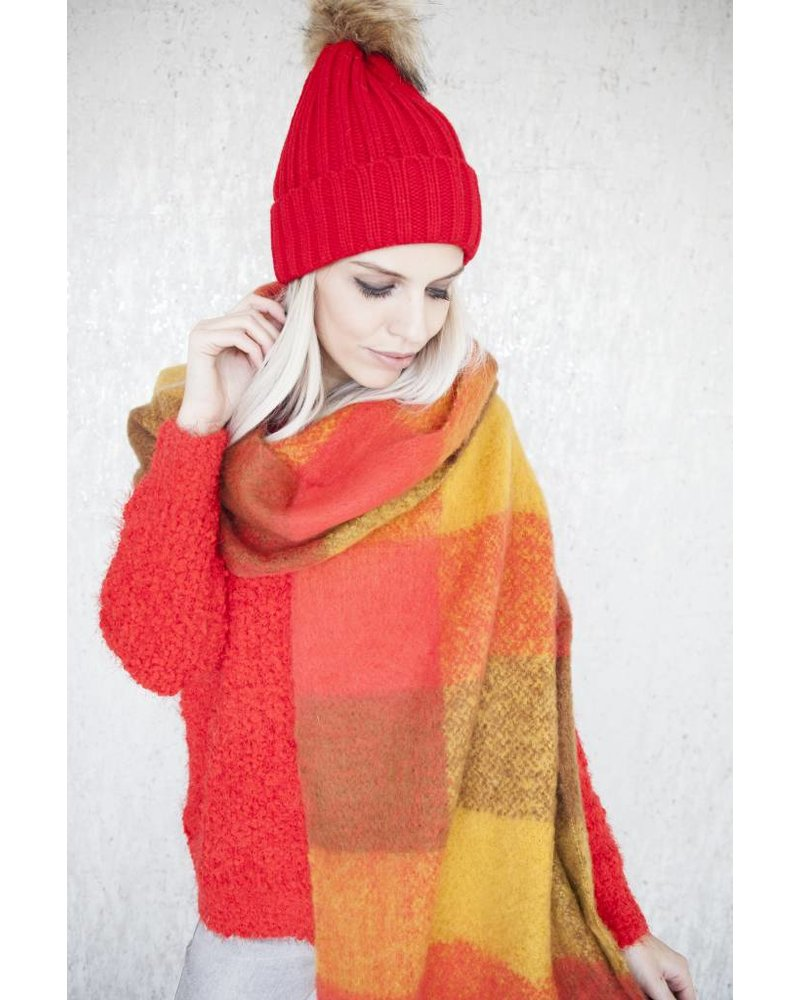 WARM CHECK RED/MUSTARD -SCARF