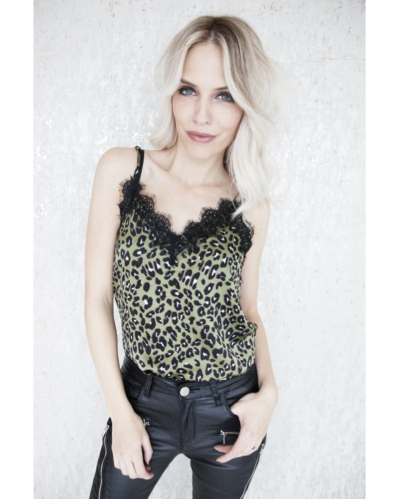 LACE & LEOPARD GREEN - TOP
