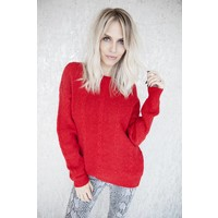 BOW IN THE BACK RED - SWEATER