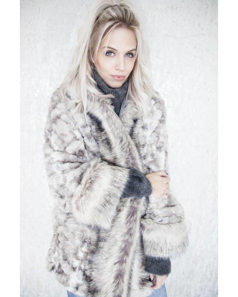 SAM FAUX FUR GREY - COAT