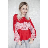 LACE FOR HOLIDAY RED - SWEATER