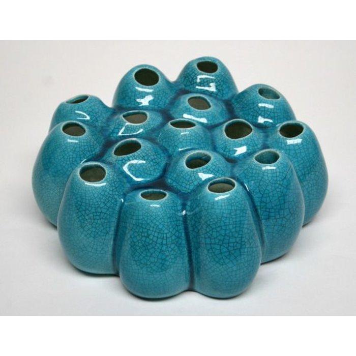 Villa Pottery  Pompom Blue