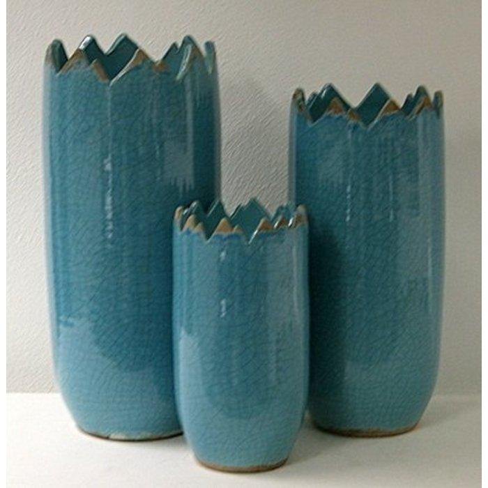 Villa Pottery  Peak Collection Turquoise Vaas