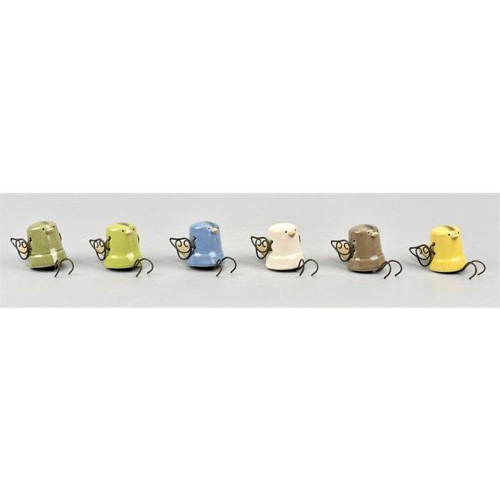 Villa Pottery  Skip Hanging Bird Mixed Colours SET/6