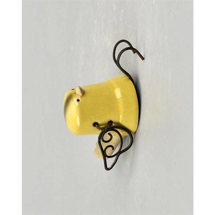 Villa Pottery  Skip Hanging Bird Wit Geel SET/6