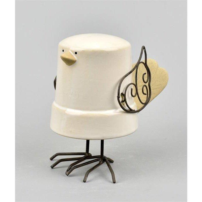 Villa Pottery  Hanging Bird Skip Wit Geel 2_1 SET/2