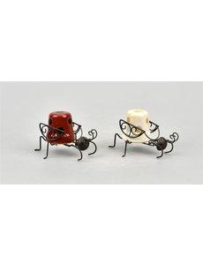 Villa Pottery  Skip Hanging Beetle Wit Rood SET/6