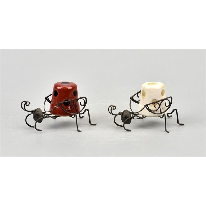 Villa Pottery  Skip Hanging Beetle Wit Rood SET/6