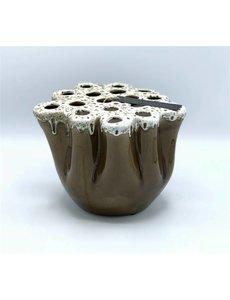 Villa Pottery  Bruine/witte Vaas Okki
