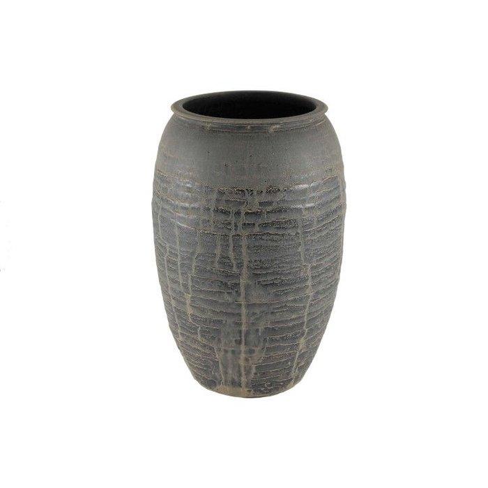 HS Potterie Antiek Zwarte Vaas Antas D22xH30 SET/2