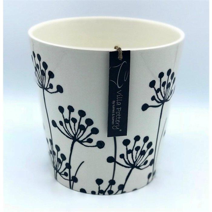Villa Pottery  Flowerpot Zwarte Beschildering
