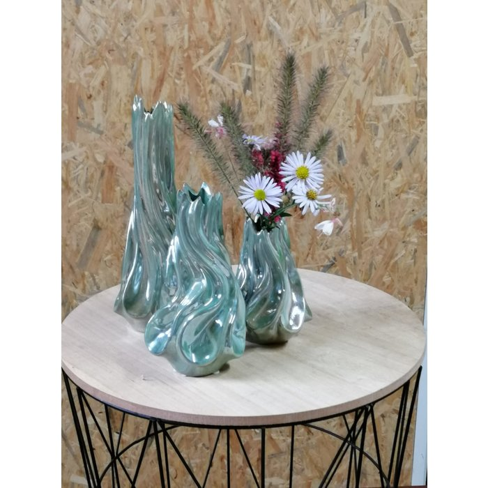 Villa Pottery  Groene Vaas Tortile 10x18