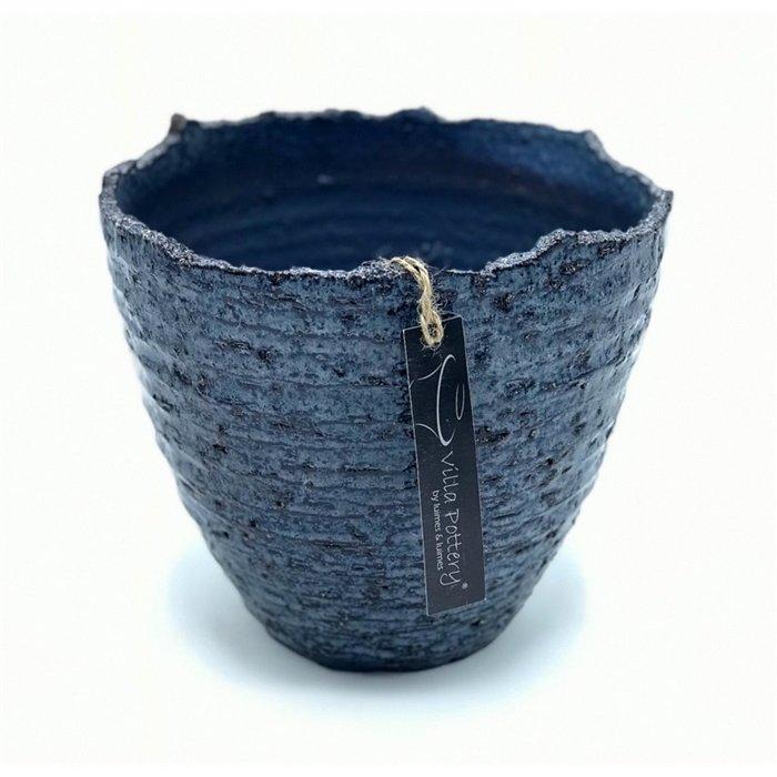 Villa Pottery  Zwart Blauwe pot Stelvio