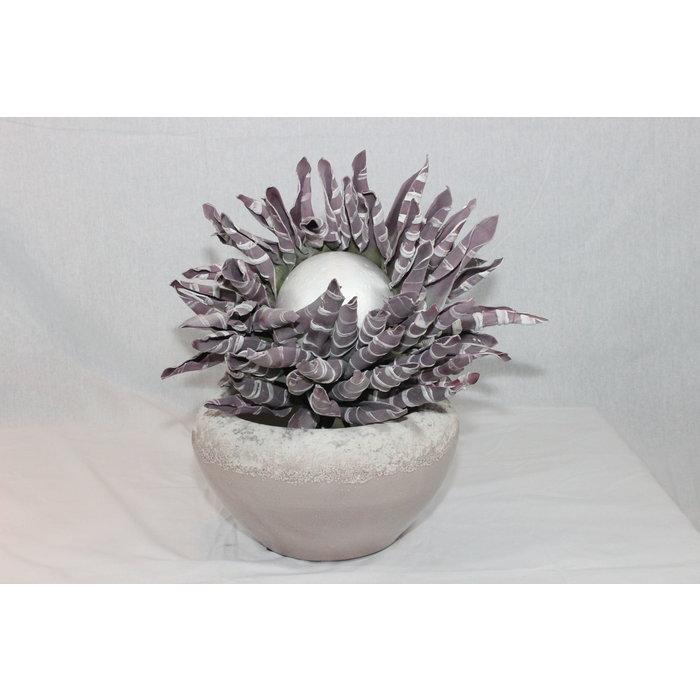 Villa Pottery  Bloem Baroness Striped Purple Flower