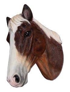 Villa Pottery  Paardenhoofd Wanddecoratie -Paard - Bruin Wit