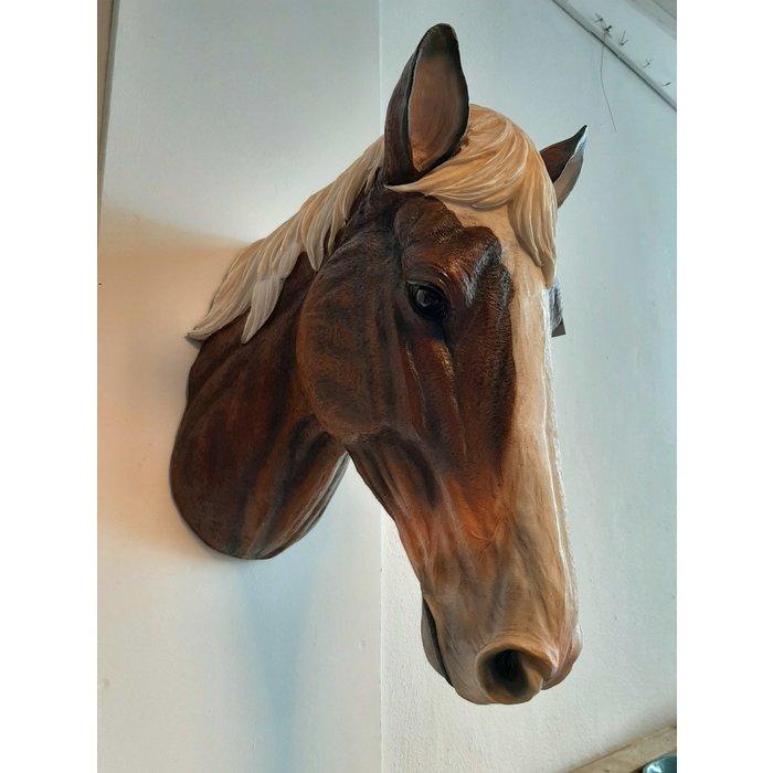 Decopots - Villa Pottery Paardenhoofd Wanddecoratie - Paard - Bruin Wit