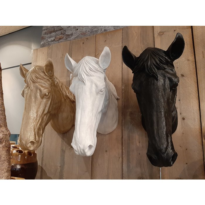 Decopots - Villa Pottery Paardenhoofd Wanddecoratie - Paard - Wit