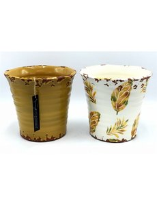 Villa Pottery  Gele pot met herfst bladeren, set van 4