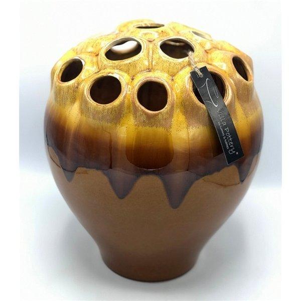 Villa Pottery  Cognac gele vaas Coral D28 x H33