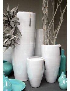 Villa Pottery  Witte pot X-design XXL