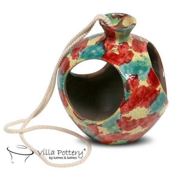 Villa Pottery  Open HangPot Florida Multi Color