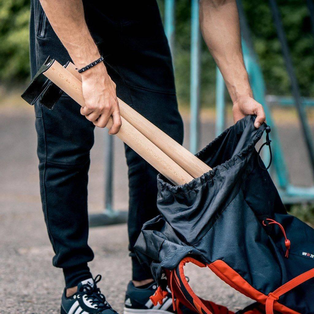 Hochwertige Holz Parallettes mit Blech Füßen, low & medium Ausführung, ergonomischer Holzgriff, inkl. Trainingsguide