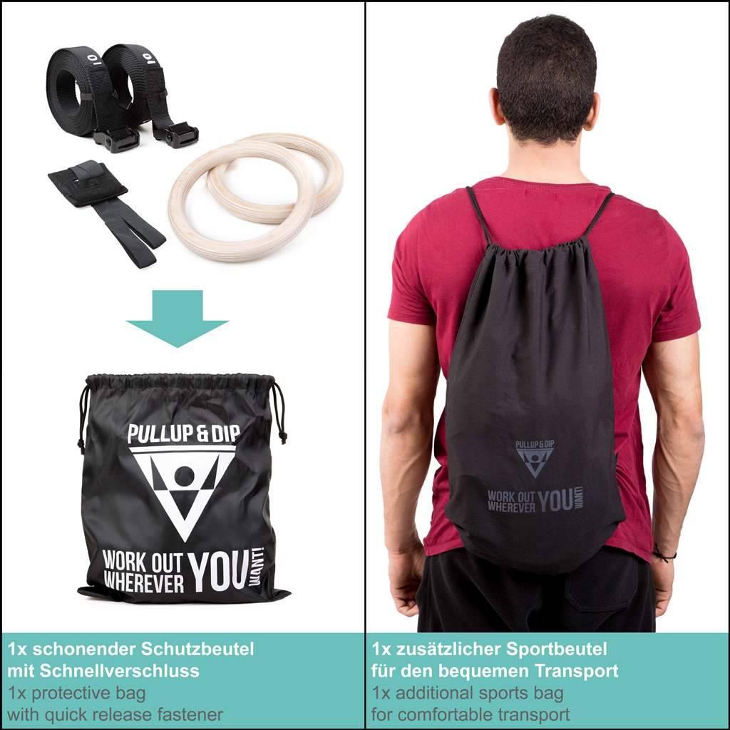 Anneaux de gymnastique (en bois) premium incluant un sac de transport, sangles de sécurité graduées,  support de porte et un livre électronique gratuit.