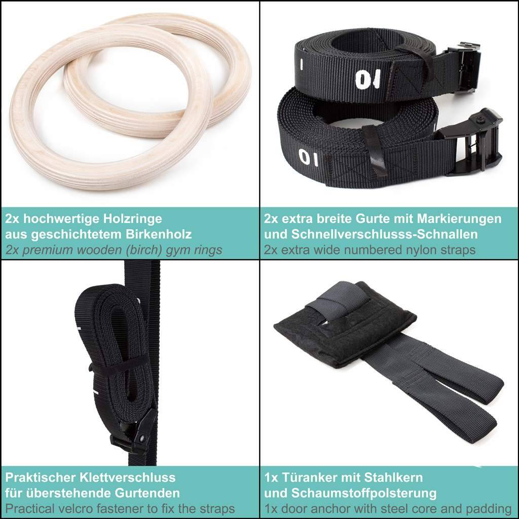 Pullup & Dip Premium wooden gymnastic rings  incl. sports bag, numbered buckle straps and door anchor + ebook exercise guide