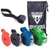 Resistance bands/pull up bands in different strenghts incl. bag, door anchor and FREE eBook