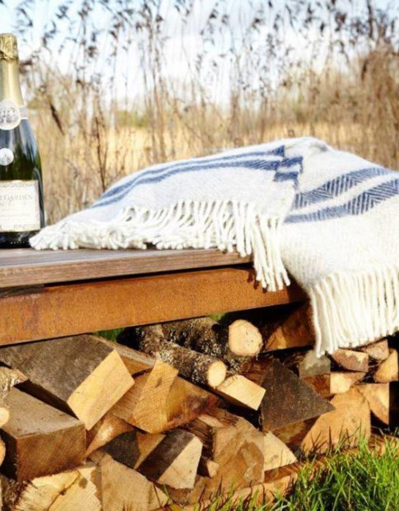 Burni Cortenstaal Houtopslag/Bank met houten zitting