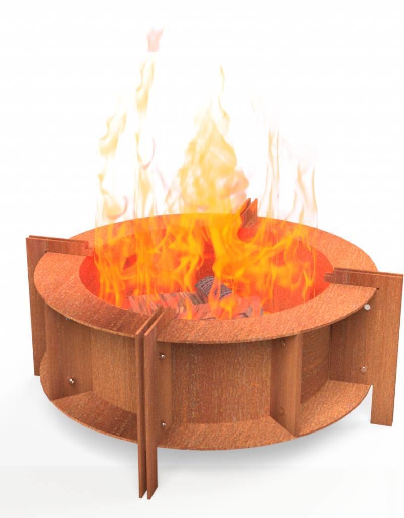 Cortenstaal  Vuurhaard + BBQ Industrieel