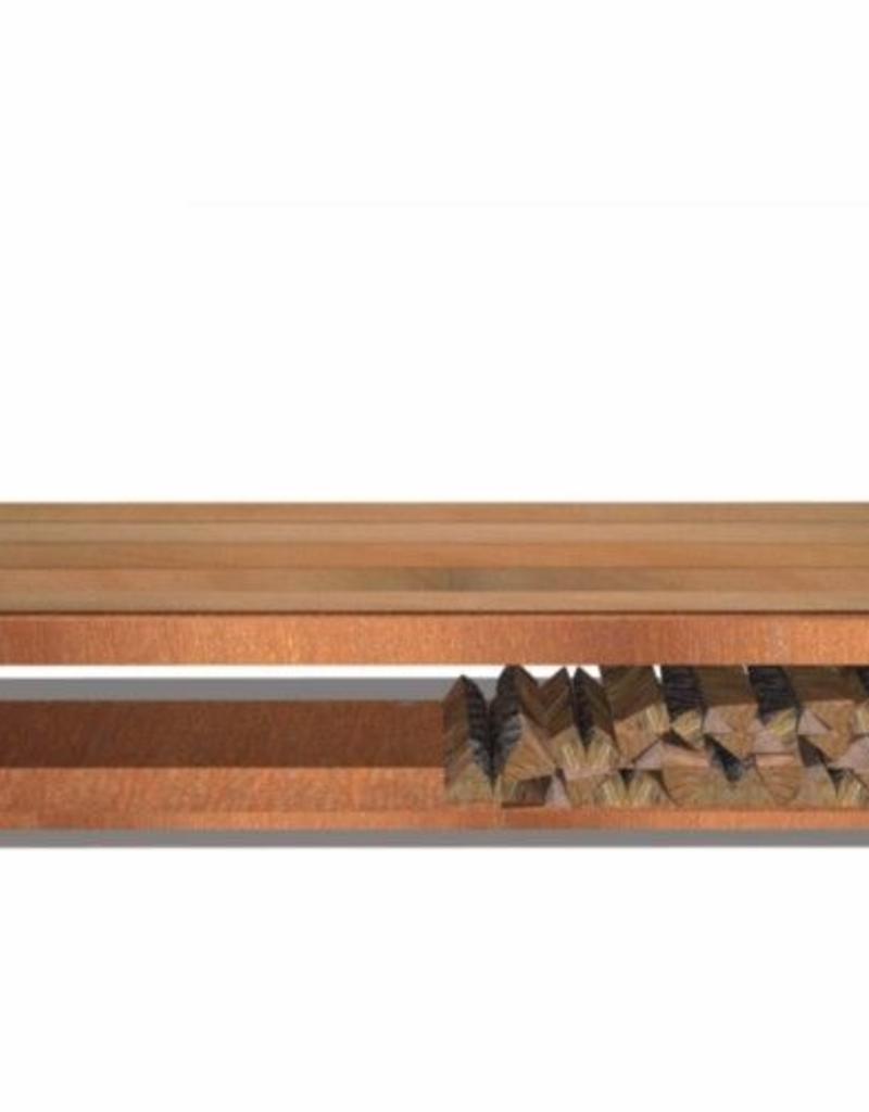 Cortenstaal Houtopslag/Bank met houten zitting