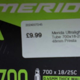 Merida Merida Ultralight Inner Tube 700x18-25C 48mm Presta