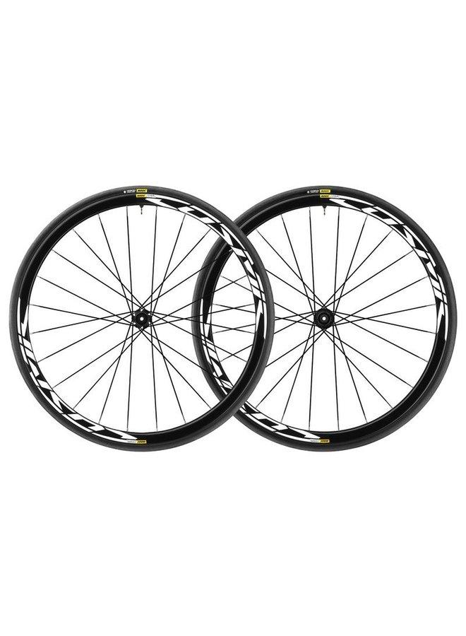 Mavic 2019 Cosmic Elite Disc Road Wheels UST Tubeless Shimano Centre Lock 12mm 25c Tyre Black Pair