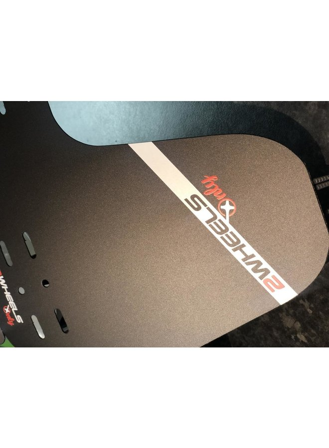2 Wheels Only Custom Front Mudguard Black/Red Font