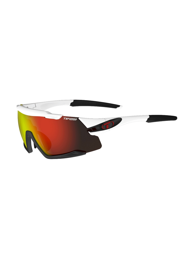 TIFOSI AETHON INTERCHANGEABLE CLARION LENS SUNGLASSES: WHITE/BLACK/CLARION RED