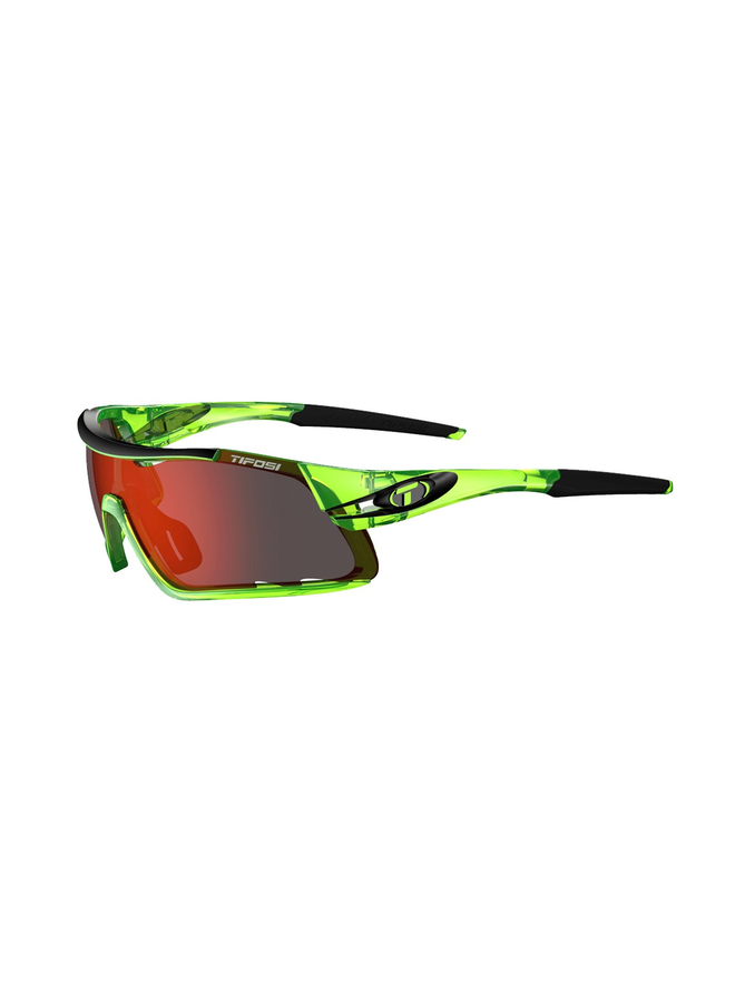TIFOSI DAVOS INTERCHANGEABLE CLARION RED LENS EYEWEAR: CRYSTAL NEON GREEN/RED CLARION