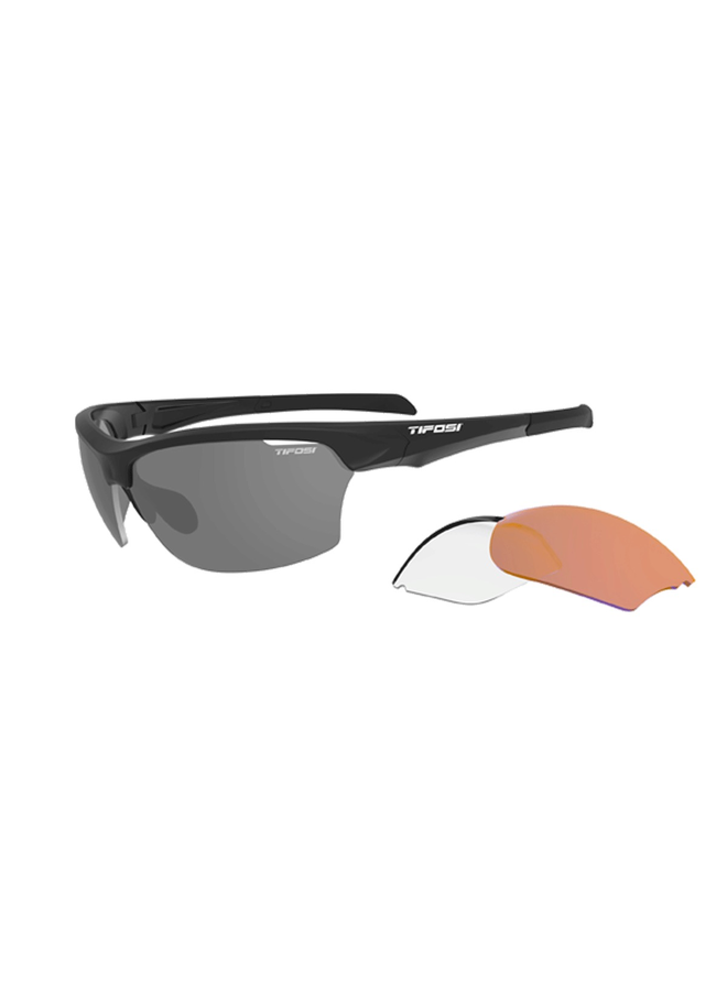 TIFOSI INTENSE INTERCHANGABLE LENS SUNGLASSES: MATT BLACK