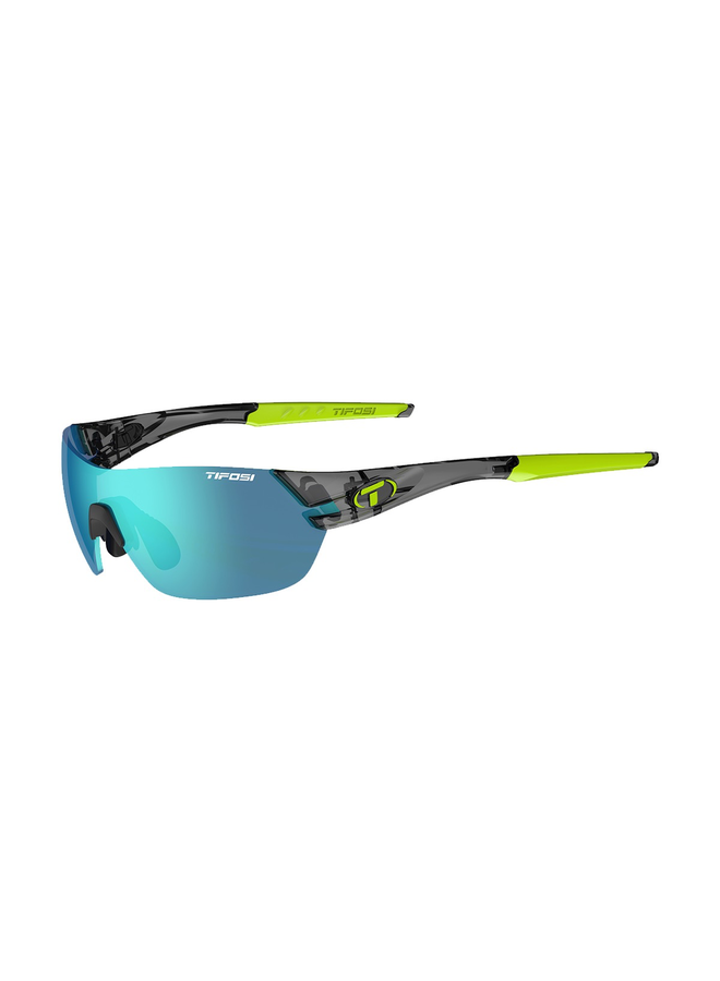 TIFOSI SLICE INTERCHANGEABLE CLARION BLUE LENS SUNGLASSES: CRYSTAL BLACK/CLARION BLUE