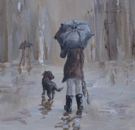 Dog Bite honden regenjas vrouw in regen