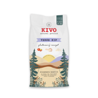 KIVO Verse kip, koudgeperste glutenvrije brokken voor puppy's