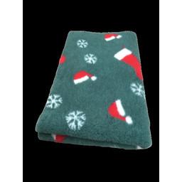 BoeZLife Vetbed KERST groen met rode kerstmuts, rode kerstsok en witte ijskristallen anti-slip