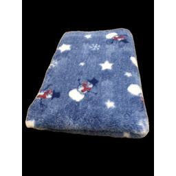 BoeZLife Vetbed WINTER blauw met witte sneeuwman en witte sterren anti-slip