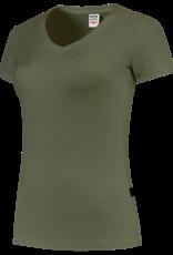 Tricorp online kopen bij J T H Tricorp dames T-shirt V- hals Slimfit TVT-190-101008  Army