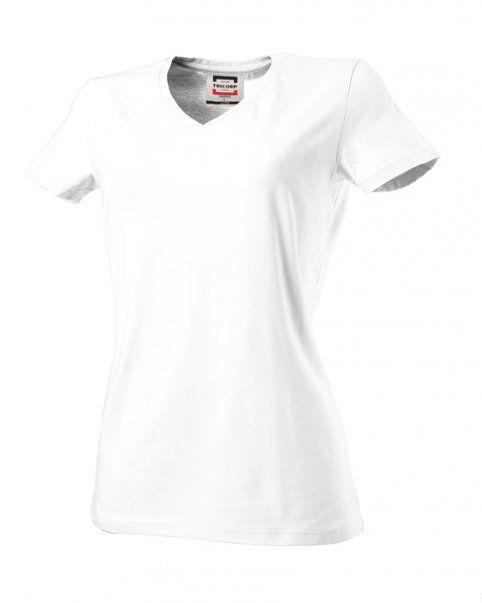 Tricorp online kopen bij J T H orp dames T-shirt V- hals Slimfit TVT-190-101008 white