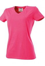 Tricorp online kopen bij J T H Tricorp dames T-shirt V- hals Slimfit TVT-190-101008 fuchsia